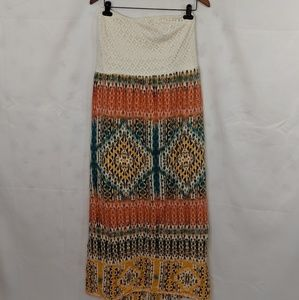Maurices long strapless boho dress cream orange